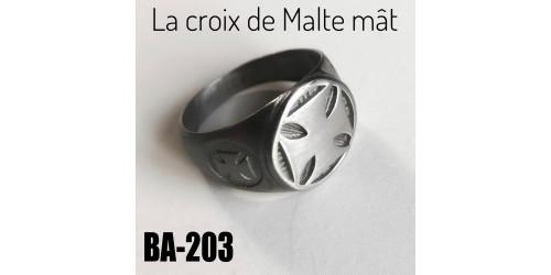 Ba-203, Bague La croix de Malte Mât, acier inoxidable