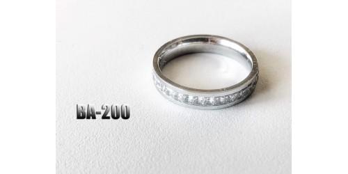 Ba-200, Bague Classique acier inoxidable avec pierre claire
