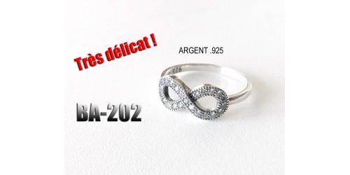 Ba-202 , Bague argent Infinité .925