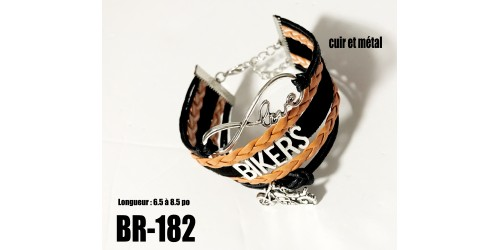Br-182, bracelet Love Bikers cuir et métal  orange noir