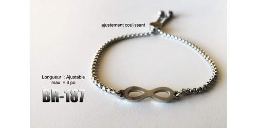 Br-187, bracelet Infinité acier inoxidable « stainless steel »