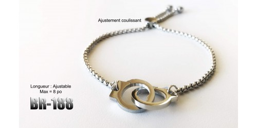 Br-188, bracelet menottes acier inoxidable « stainless steel »