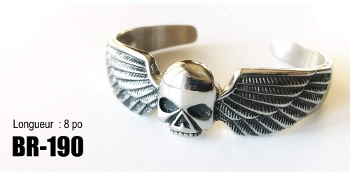 Br-190, Bracelet  Rigide Will skull  ailés ,acier inoxidable « stainless steel »