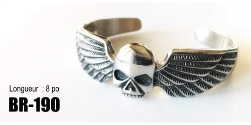 Br-190, Bracelet  Rigide Will skull  ailés ,acier inoxidable « stainless steel »