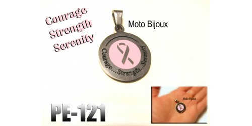 Pe-121, Pendentif supportons le cancer, Courage, Strength, Serenity, Acier inoxidable