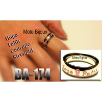 Ba-174, Bague supportons le Cancer, Hope, Faith, Courage, Strenght, Acier inoxidable