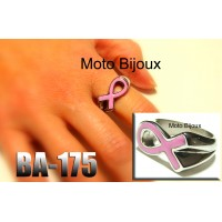 Ba-175, Bague supportons le Cancer, Ruban rose, Acier inoxidable