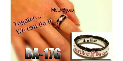 Ba-176, Bague supportons le Cancer, Togeter we can do it, Acier inoxidable