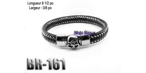 Br-161, Cuir / Acier inoxidable Skull, fermoir magnétique
