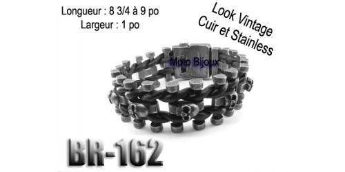 Br-162, Bracelet Vintage Tête de mort, Acier inoxidable « stainless steel » et cuir