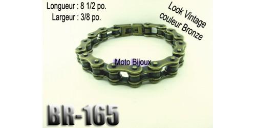 Br-165 bracelet chaîne vintage couleur bronze mât,acier inoxidable « stainless steel »