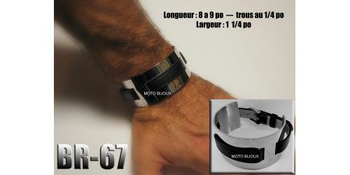Br-067, Bracelet cuir et acier inoxidable « stainless steel »