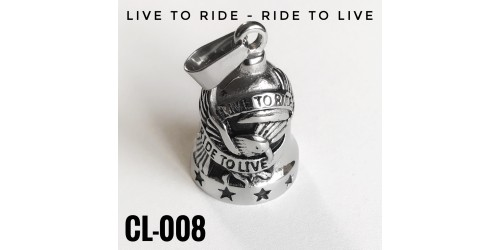 CL-008 cloche protectrice (Guardian Bell) Live To Ride, acier inoxidable (Stainless Steel)