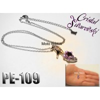 Pe-109, Pendentif soulier, Cristal Swarovski, Pierre rose (to be translated)