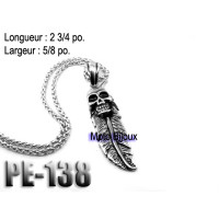 Pe-51, Pendentif Balle tête de mort acier inoxidable ( Stainless Steel ) (to be translated)