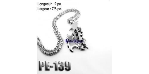 Pe-139, Pendentif  Mini Skull Tribal , Acier inoxidable ( Stainless Steel )