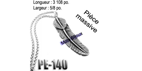 Pe-140, gros Pendentif  Plumes   , Acier inoxidable ( Stainless Steel )