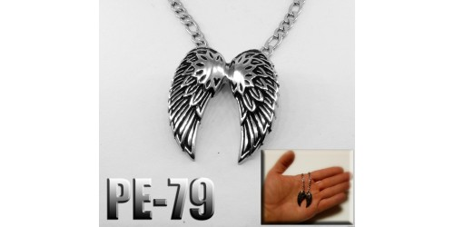 Pe-079, Pendentif double ailes, acier inoxidable ( Stainless Steel )